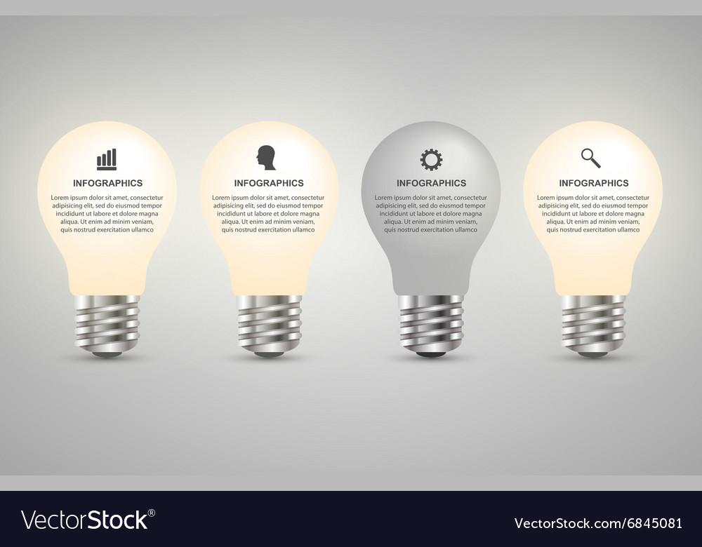 Creative d light bulb infographics design vector image