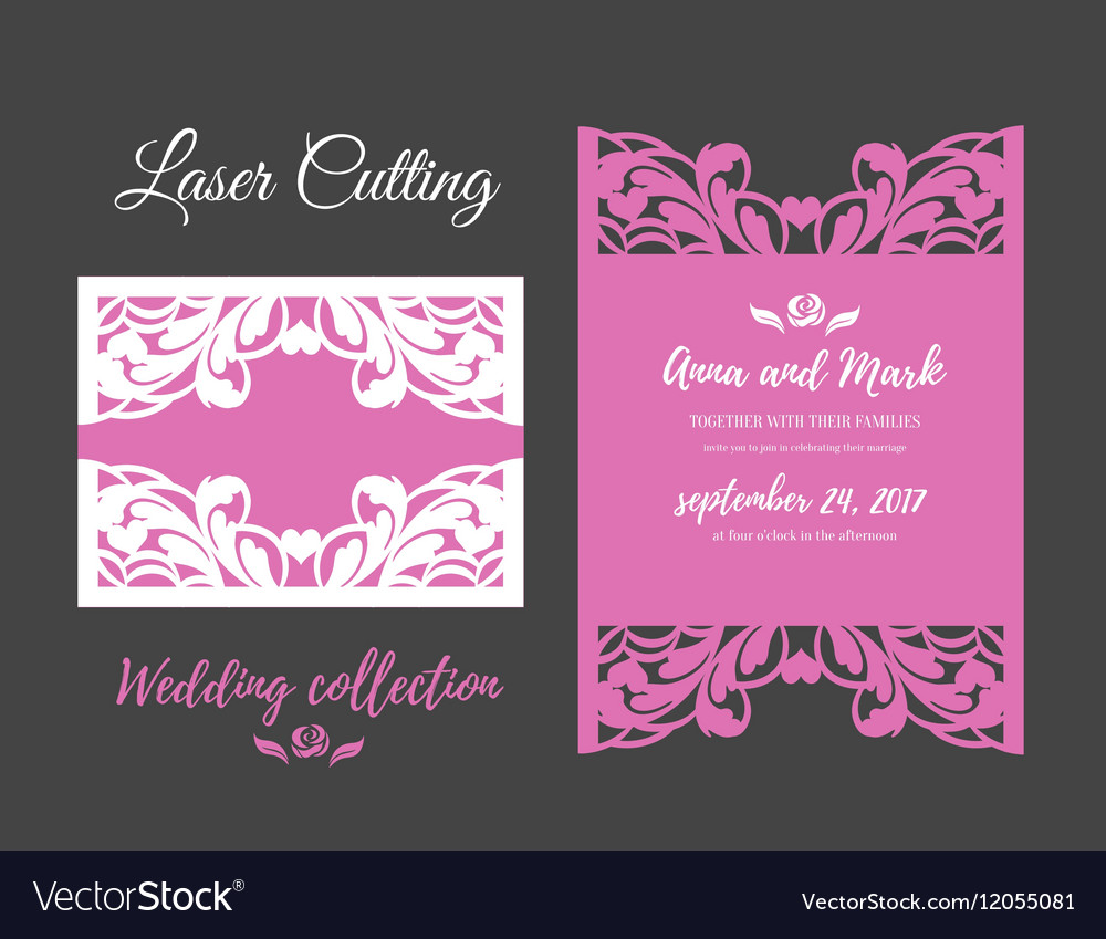 DIY Template for laser cutting Open card The vector image