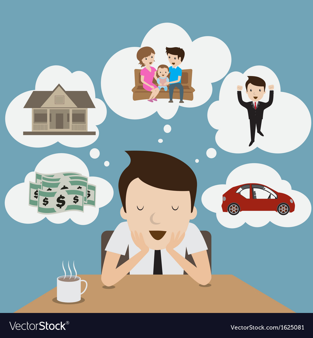 Dream and vision of businessman vector image