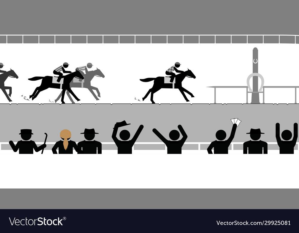 Flat horse racing in front crowd spectators