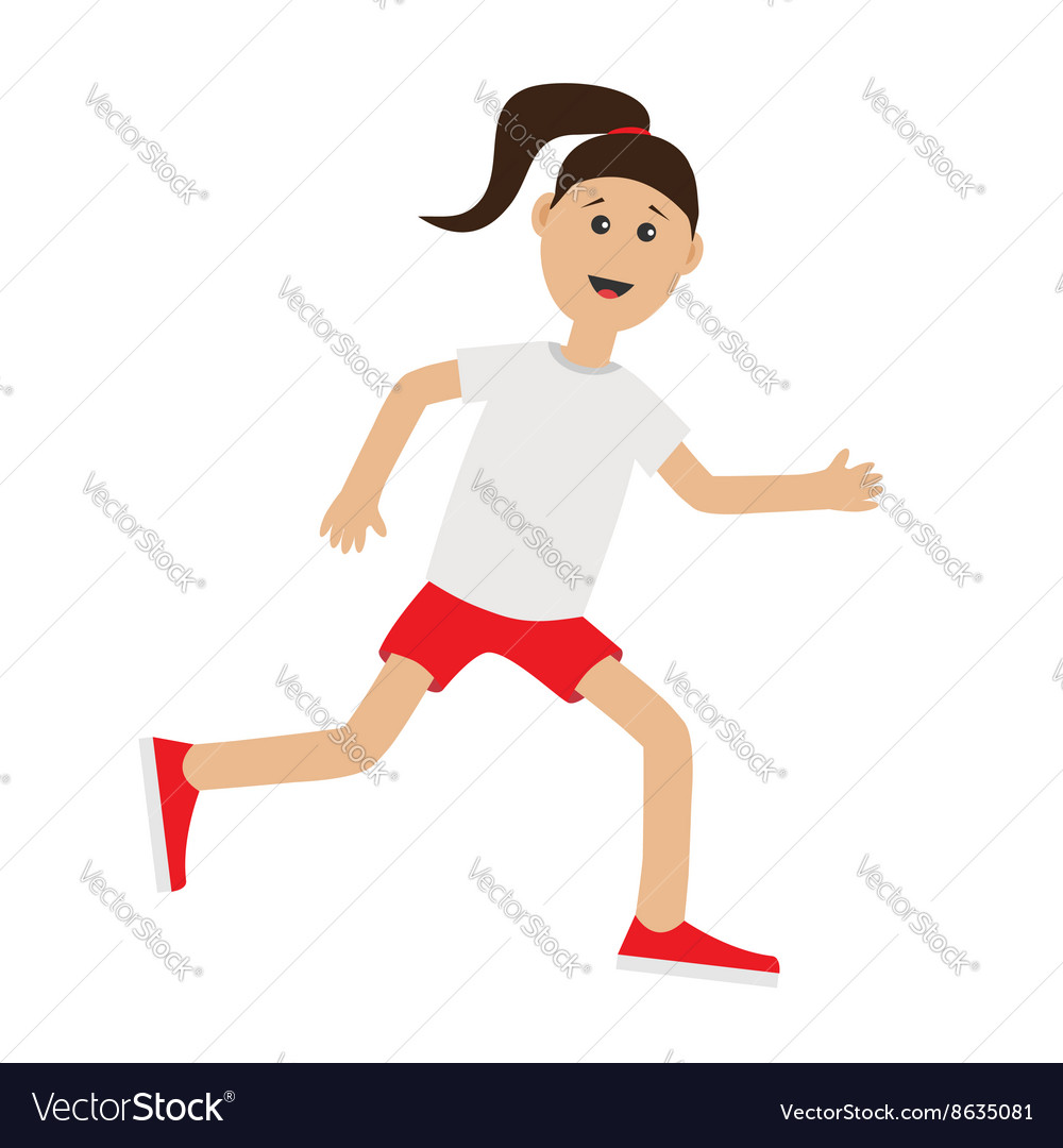 funny cartoon running girl cute run woman jogging vector image