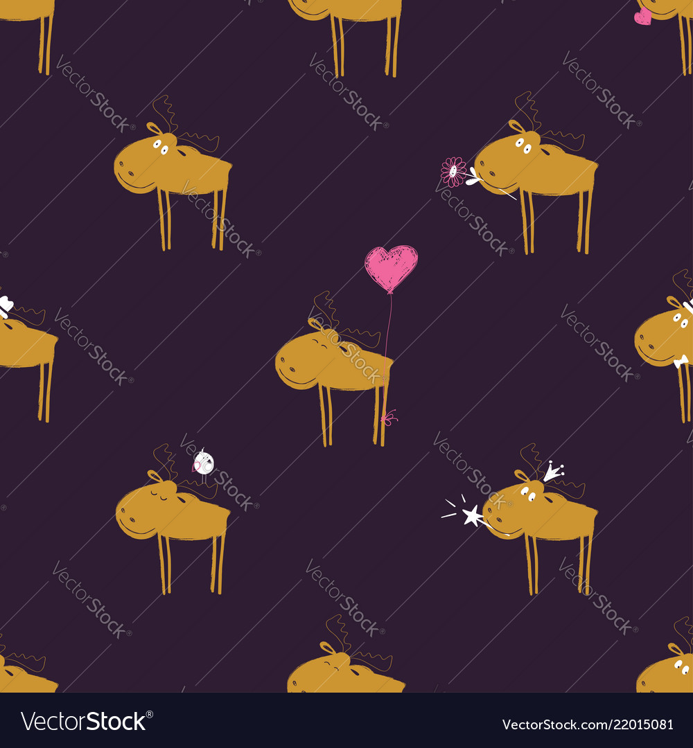 Funny seamless pattern with moose