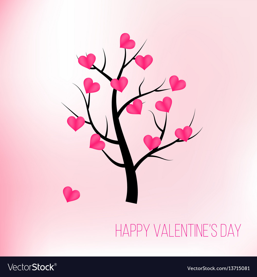 Happy valentines day tree with pink hearts