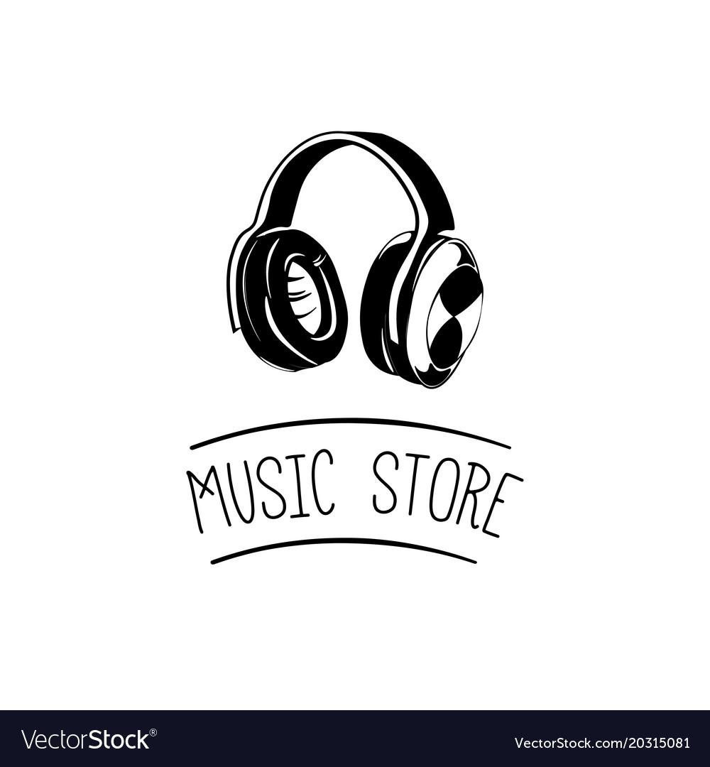 Music headset logo design templateelement design