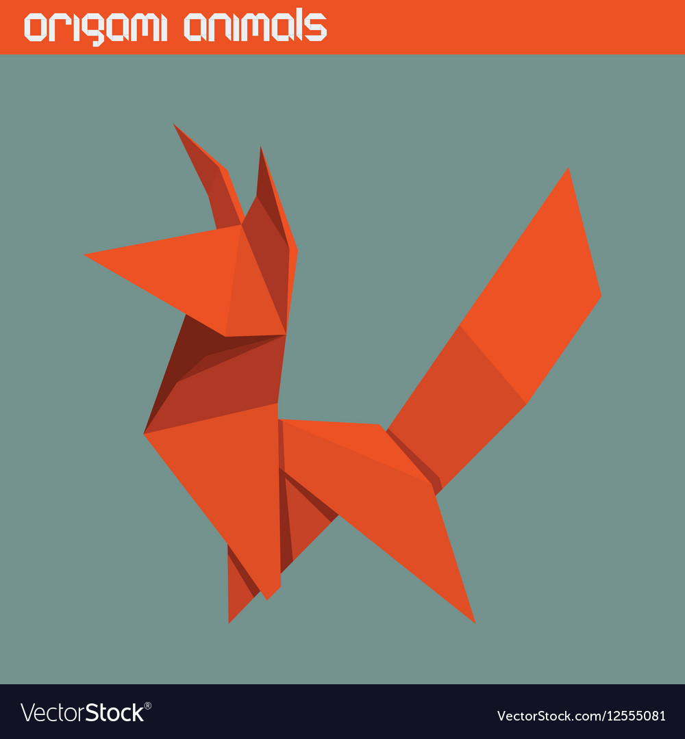 Origami isolated animal Cute Fox vector image