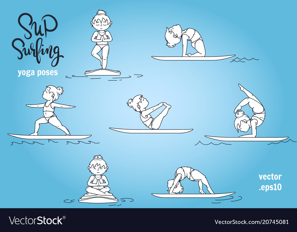 Paddle board yoga poses set