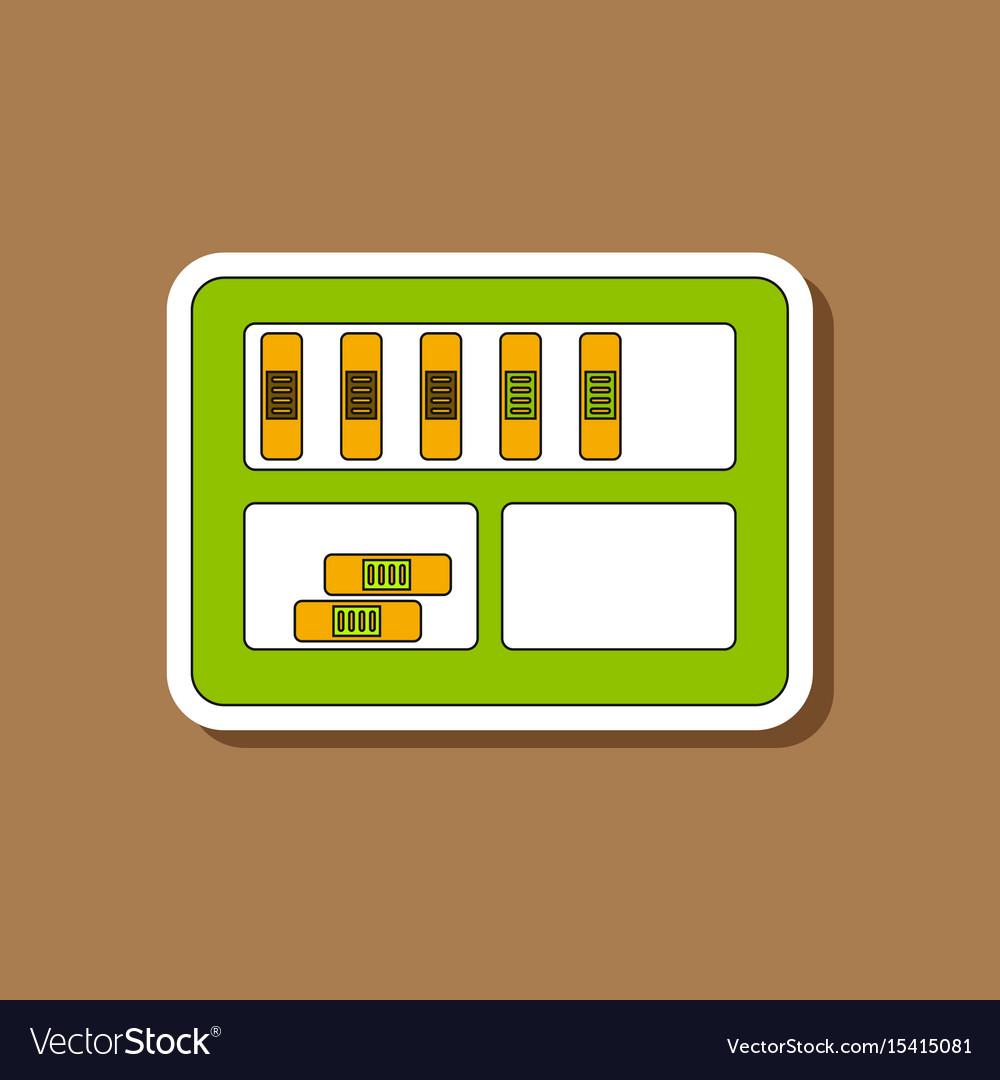 Paper sticker on stylish background folder shelf