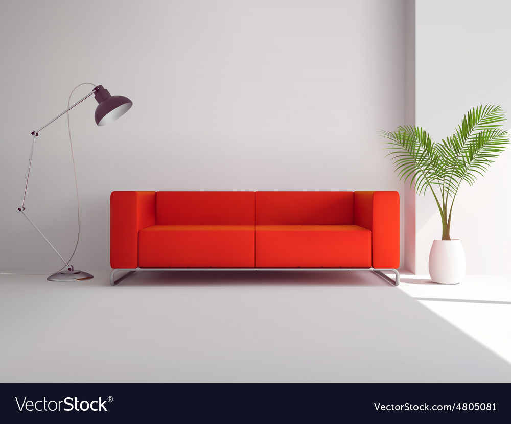 Red Sofa With Lamp And Palm Tree Vector Image