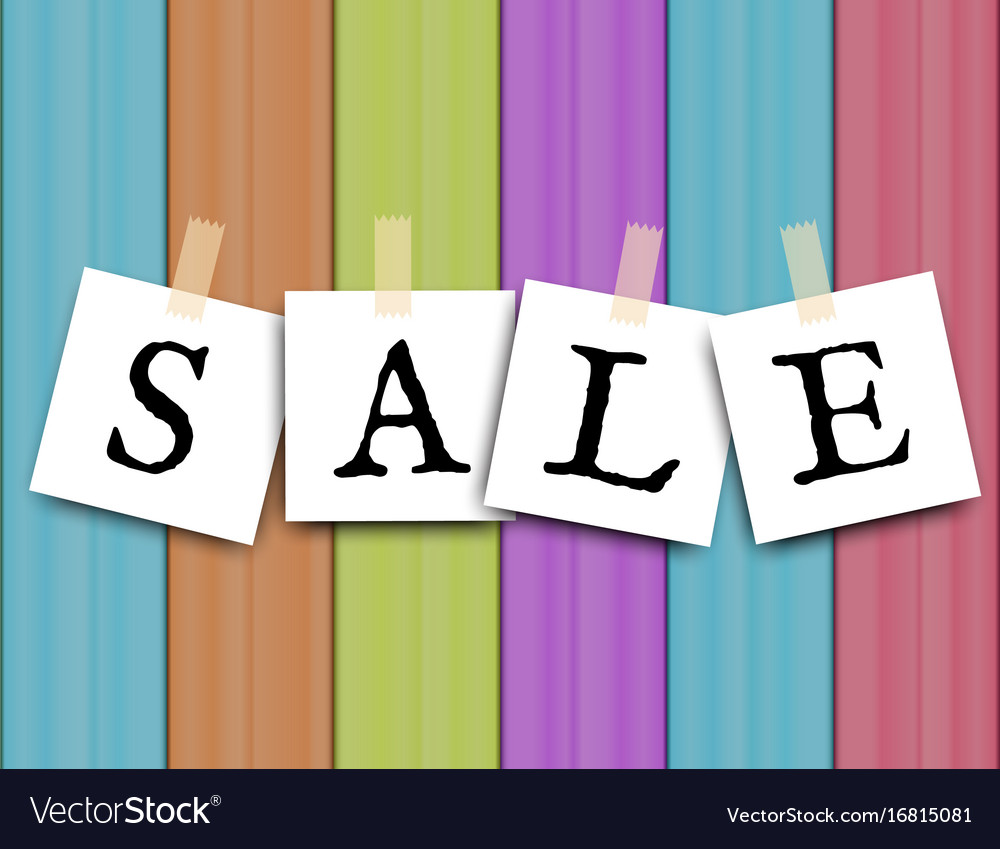 Sale text sticker on colored wooden desk vector image