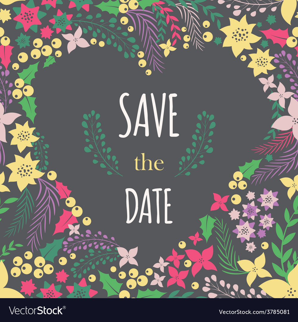 Save the date phrase on heart frame