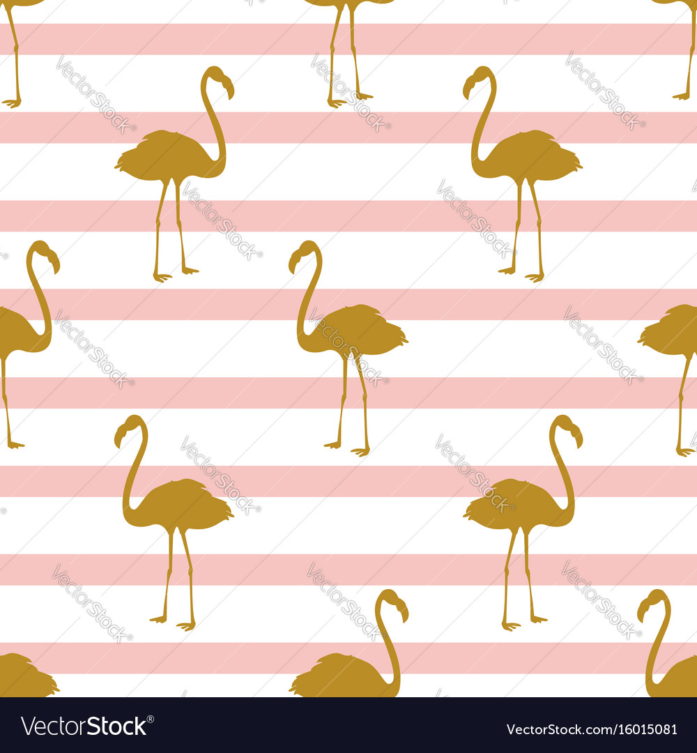 Seamless pattern with golden flamingos