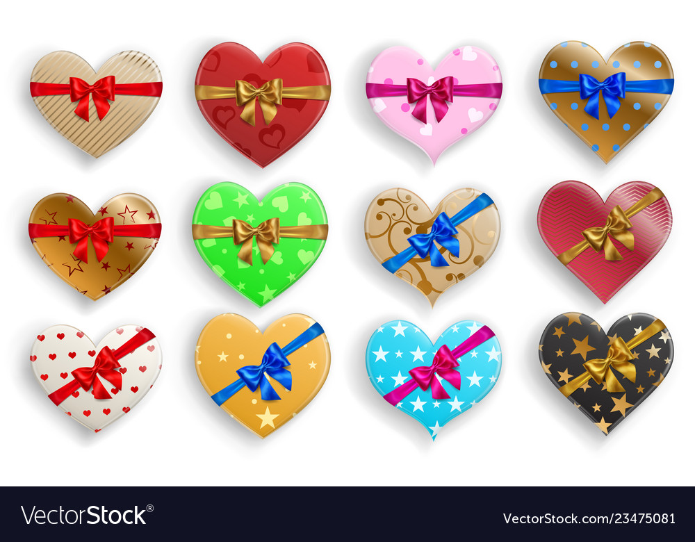 Set of heart shaped gift boxes with bows