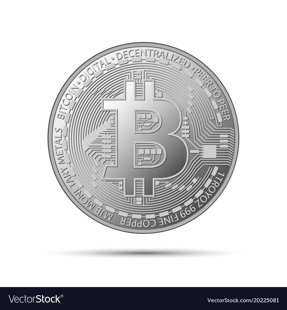 Silver Bitcoin Coin Crypto Currency Silver Symbol Vector Image