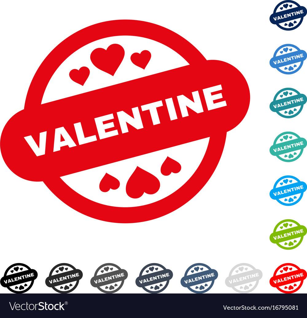 Valentine stamp seal icon vector image