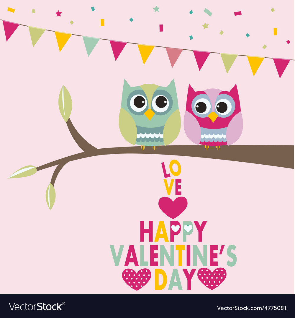 Valentines Day Owls Royalty Free Vector Image Vectorstock