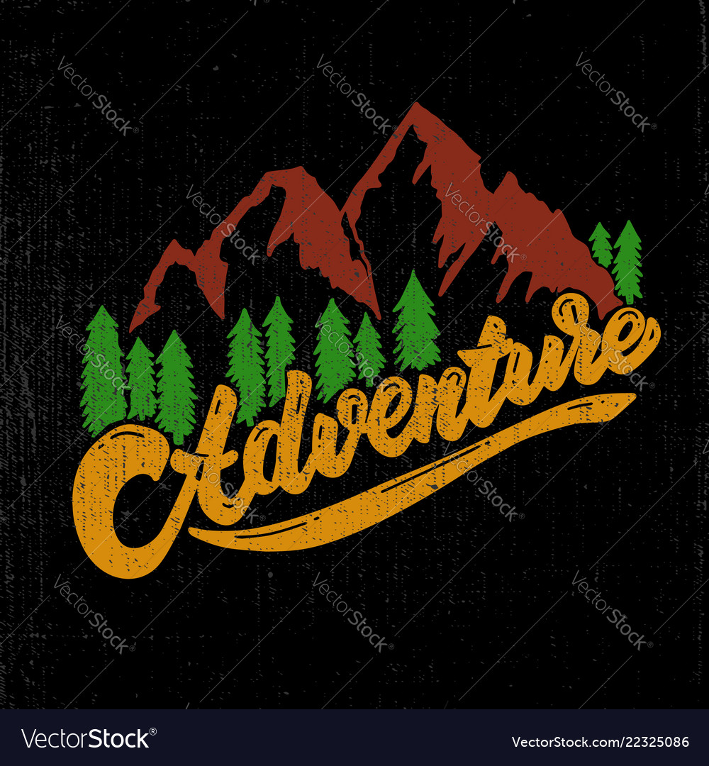 Adventure hand drawn lettering with mountains and
