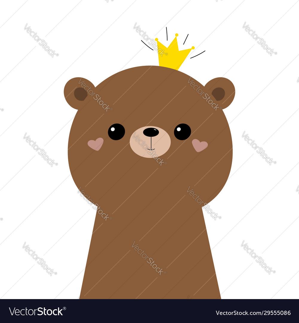 Bear grizzly face head icon cute kawaii animal