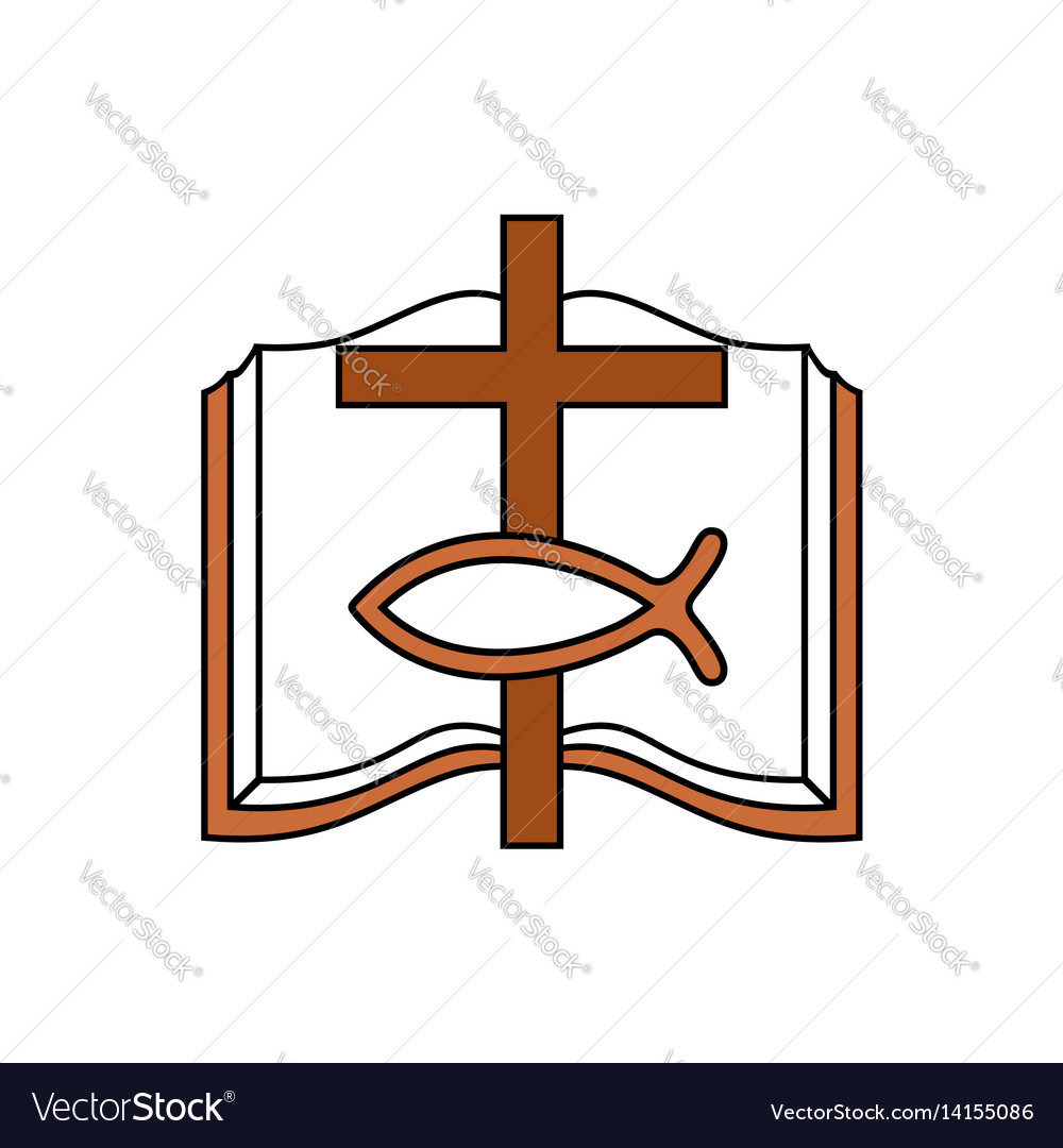 bible cross and christian fish royalty free vector image