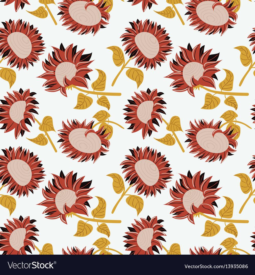 Decorative beauty sunflowers seamless pattern vector image
