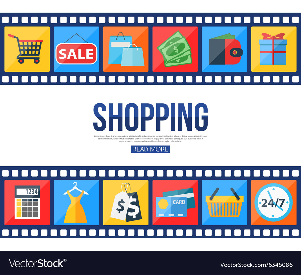 Film strips and set of sale and shopping icons for