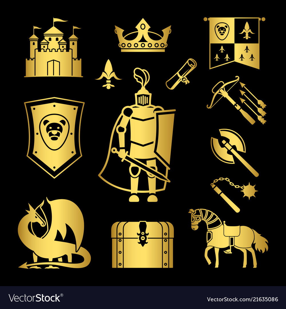 Knighthood in middle ages icons