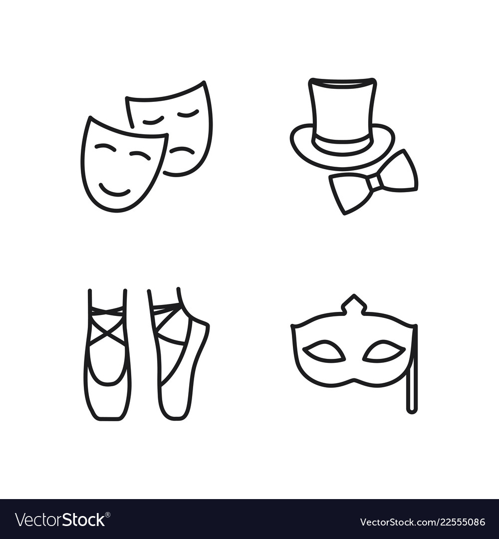 Line theatre icons set on white background