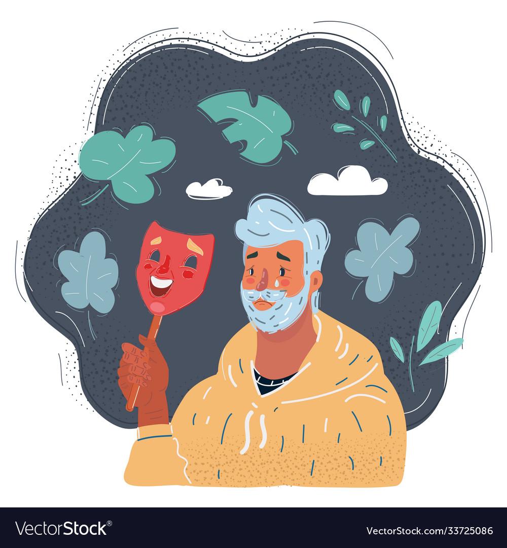 Sad man holding smiley mask