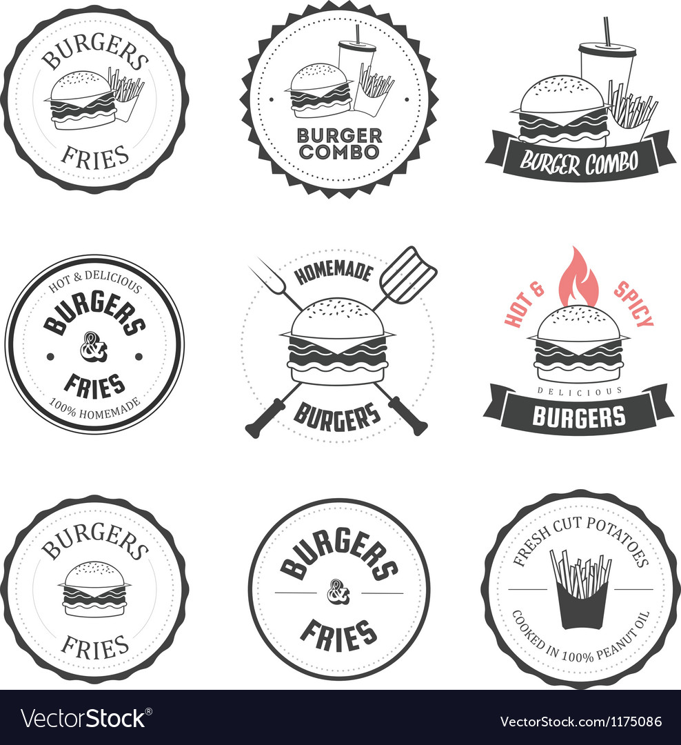 Set of burger and fries restaurant design elements