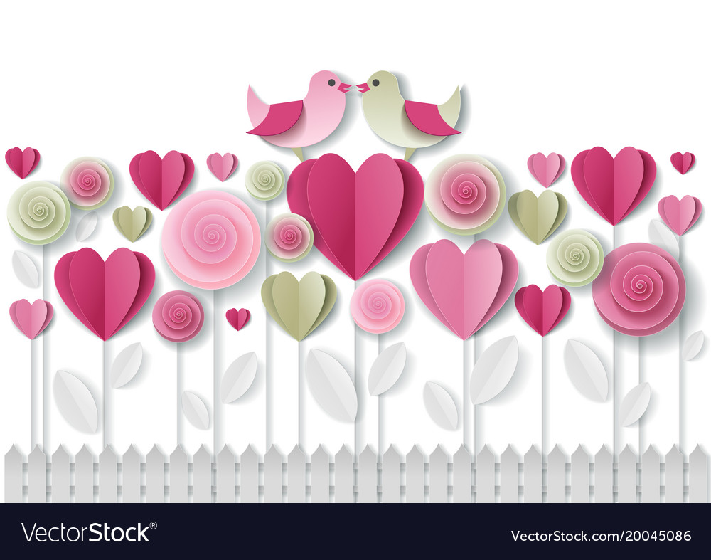 Valentines day greeting card paper art