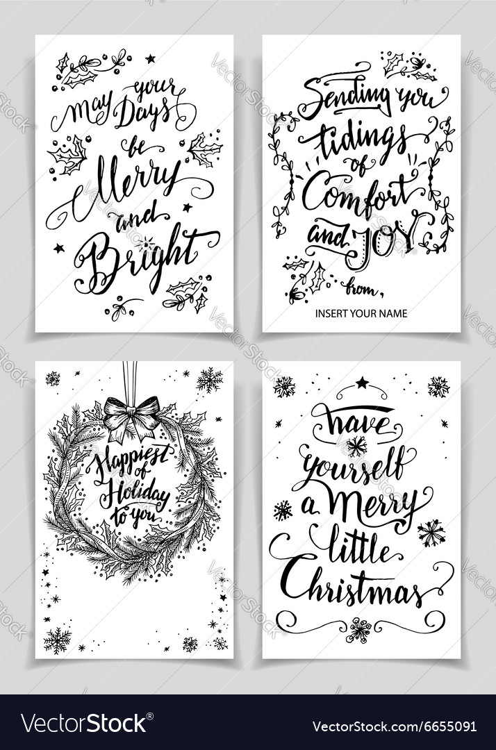 Christmas Calligraphy.Christmas Calligraphy Greeting Cards Set