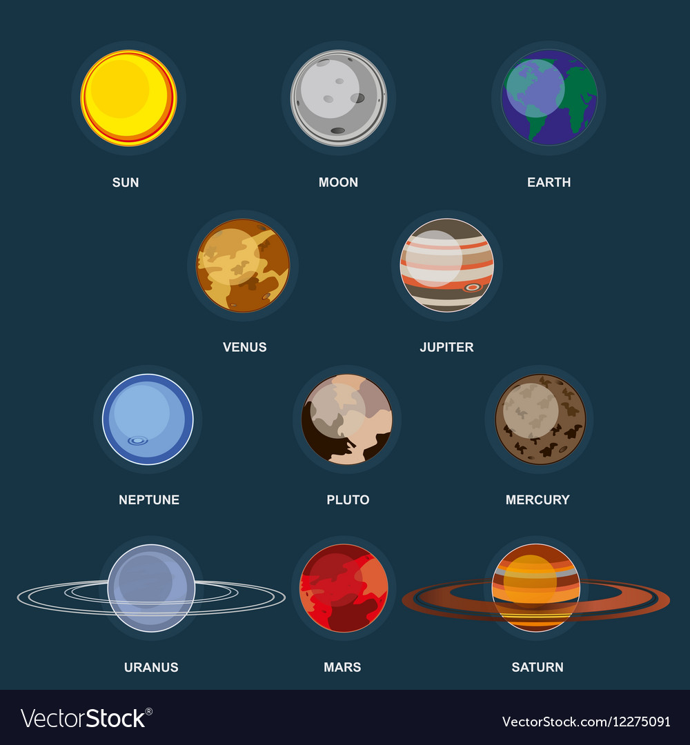 Collection of planets on dark background Outer