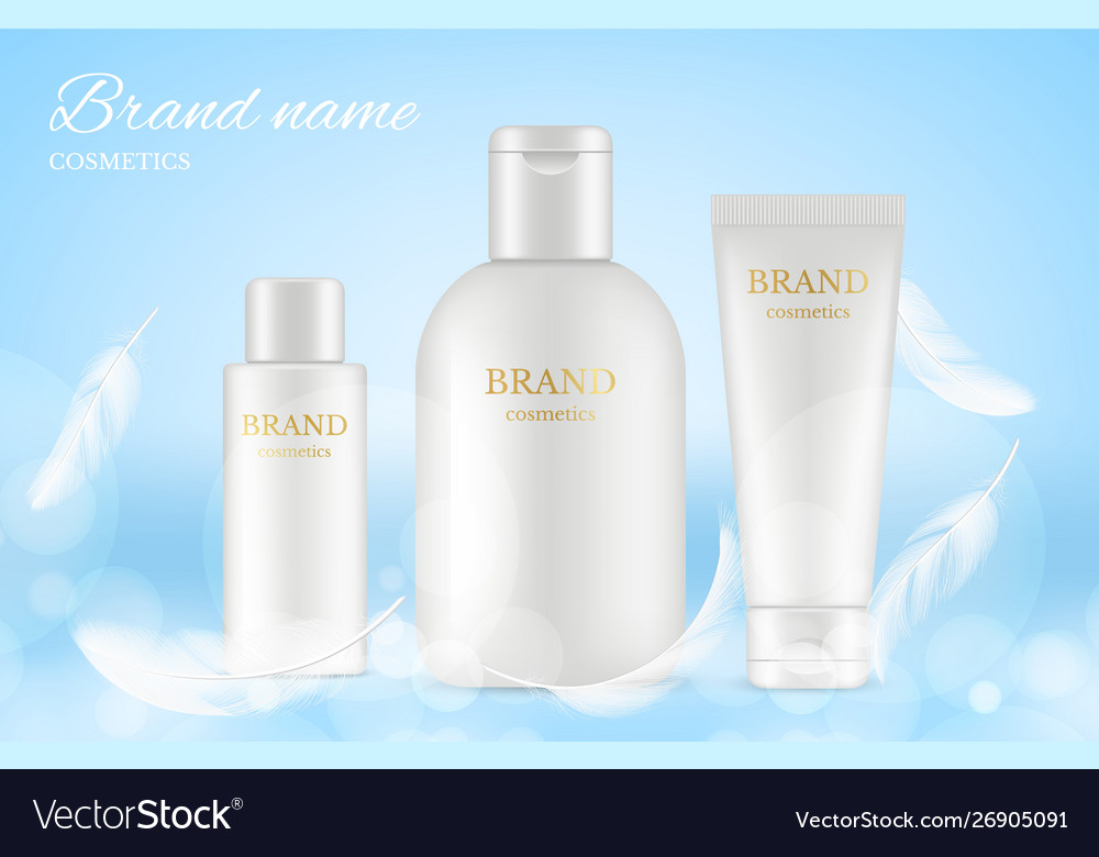 Cosmetic ads poster banner with realistic