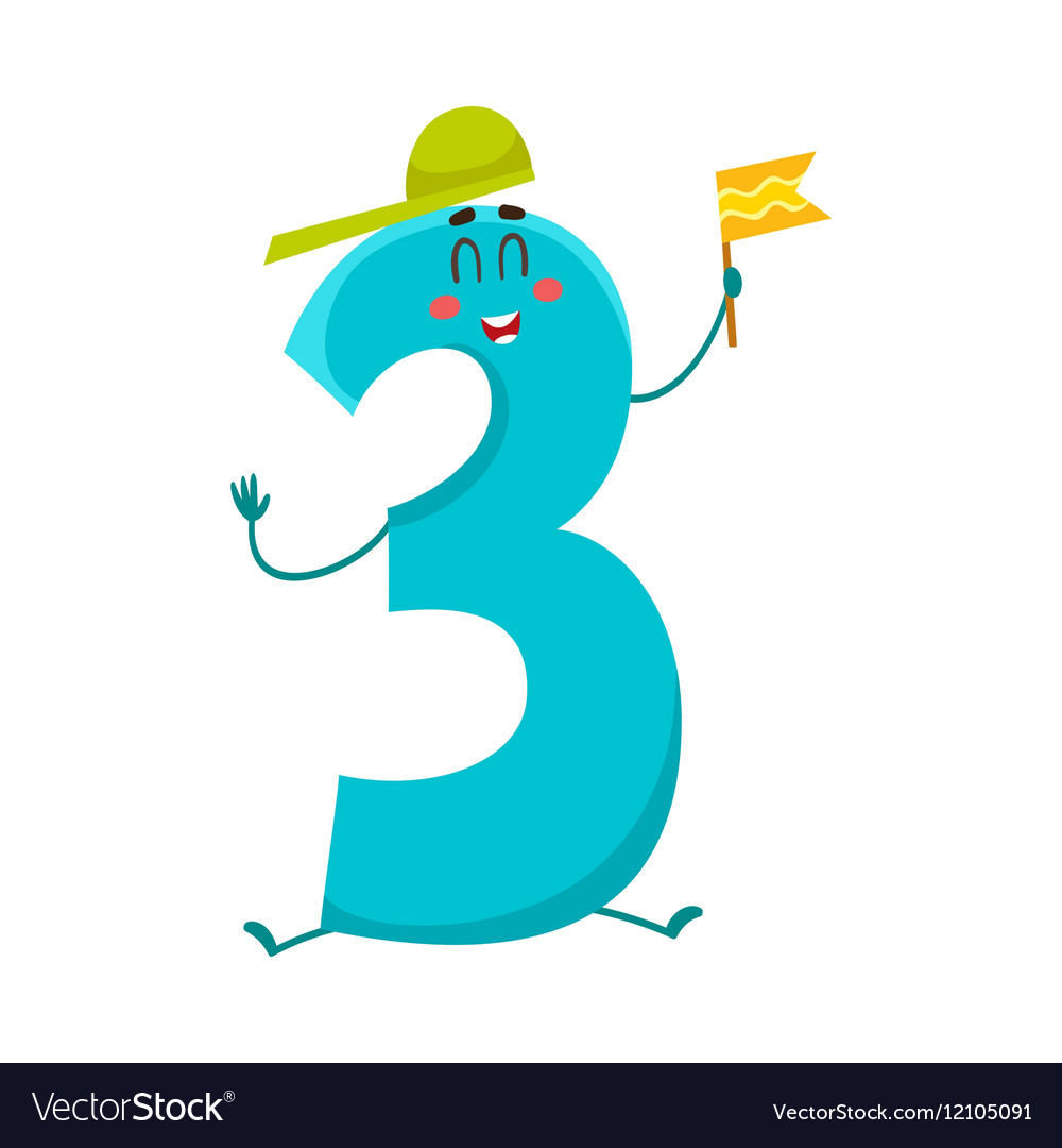 Cute And Funny Colorful 3 Number Characters Vector Image