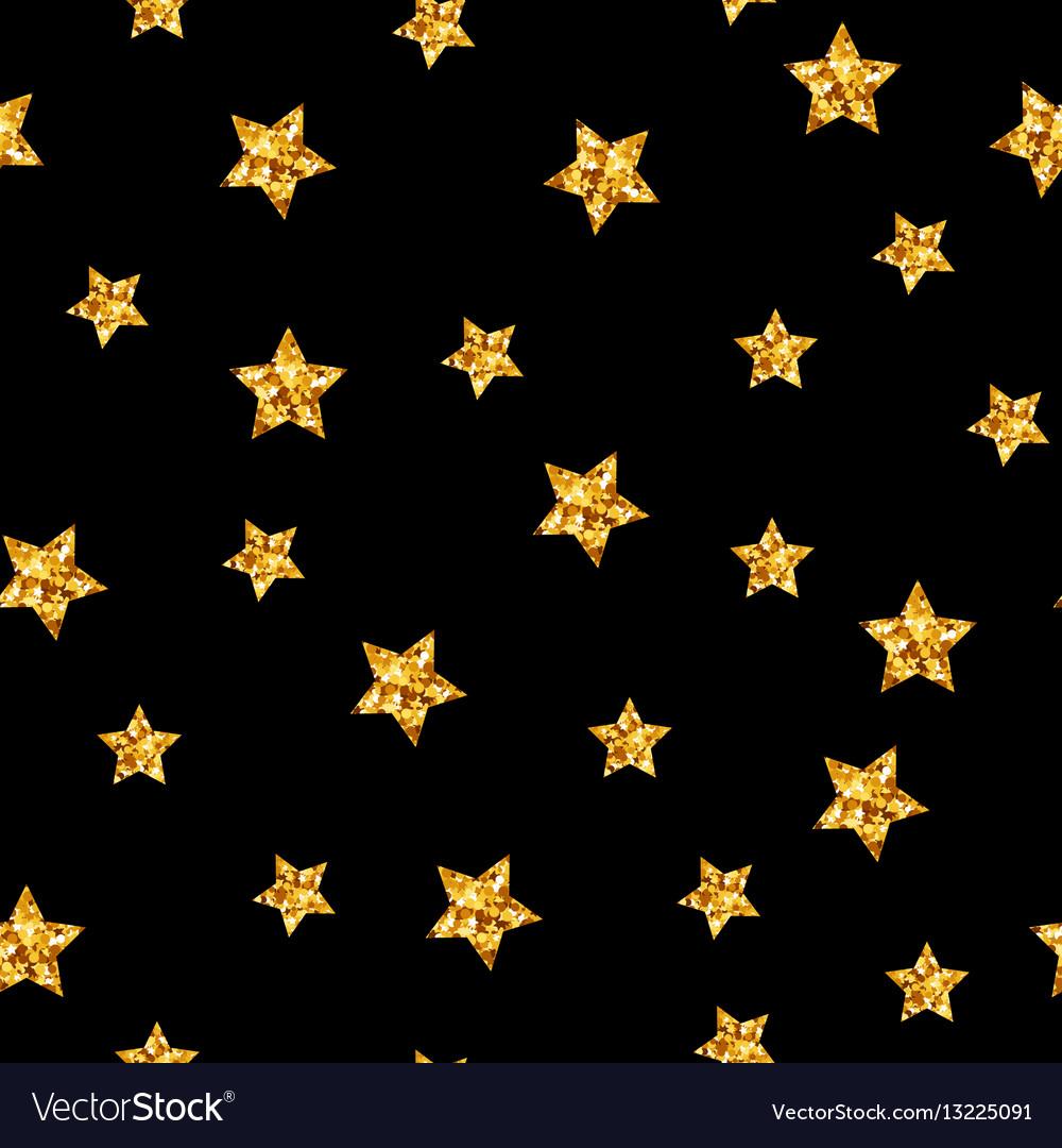 Gold glitter stars seamless pattern on