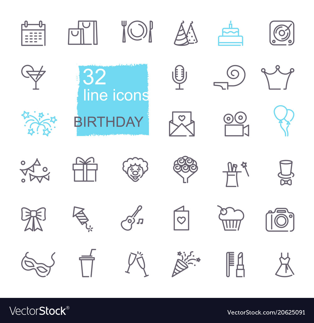 Linear birthday icons set