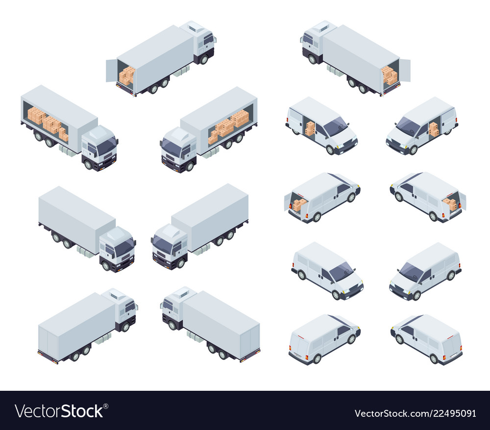 Loaded cargo vehicles isometric icons set