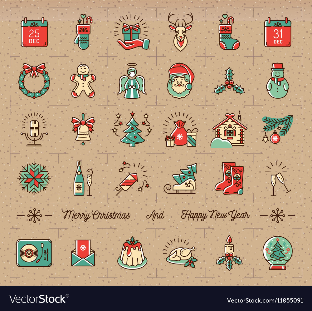 Mega Christmas icons set Winter holiday symbols