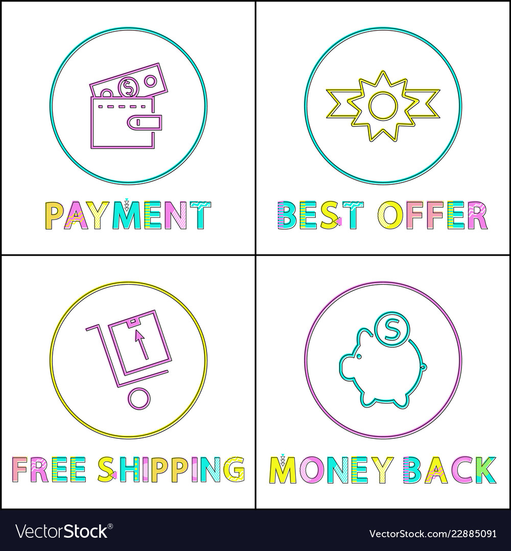 Online payment best offer and pay back icons