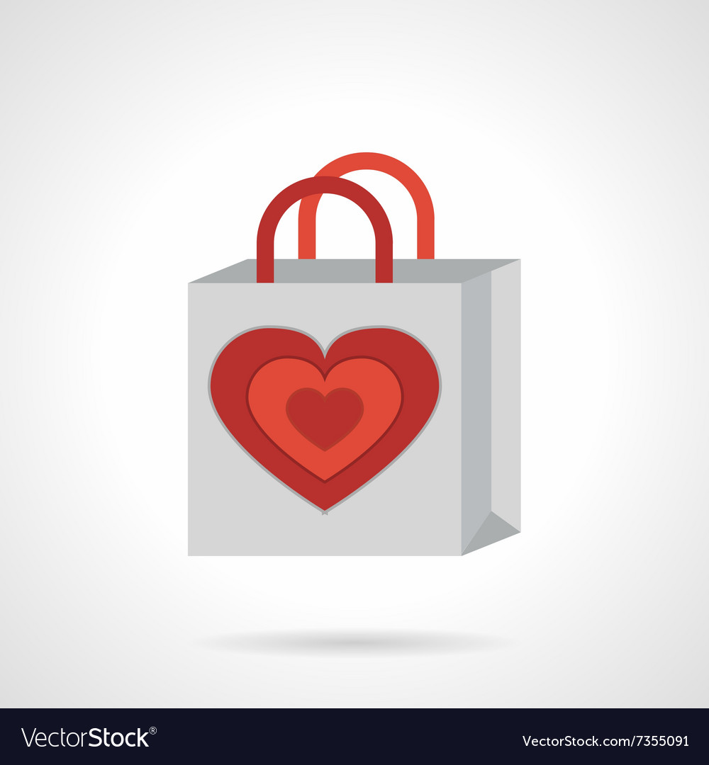 Paper bag with heart flat icon vector image