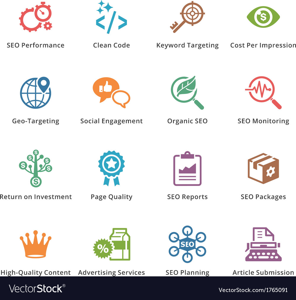 SEO and Internet Marketing Colored Icons - Set 4 vector image