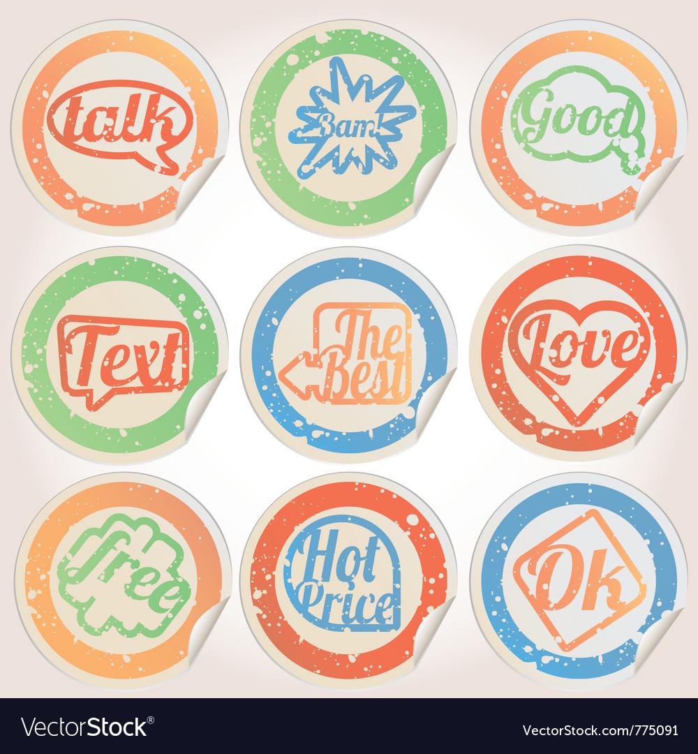 Set sticker paper grunge
