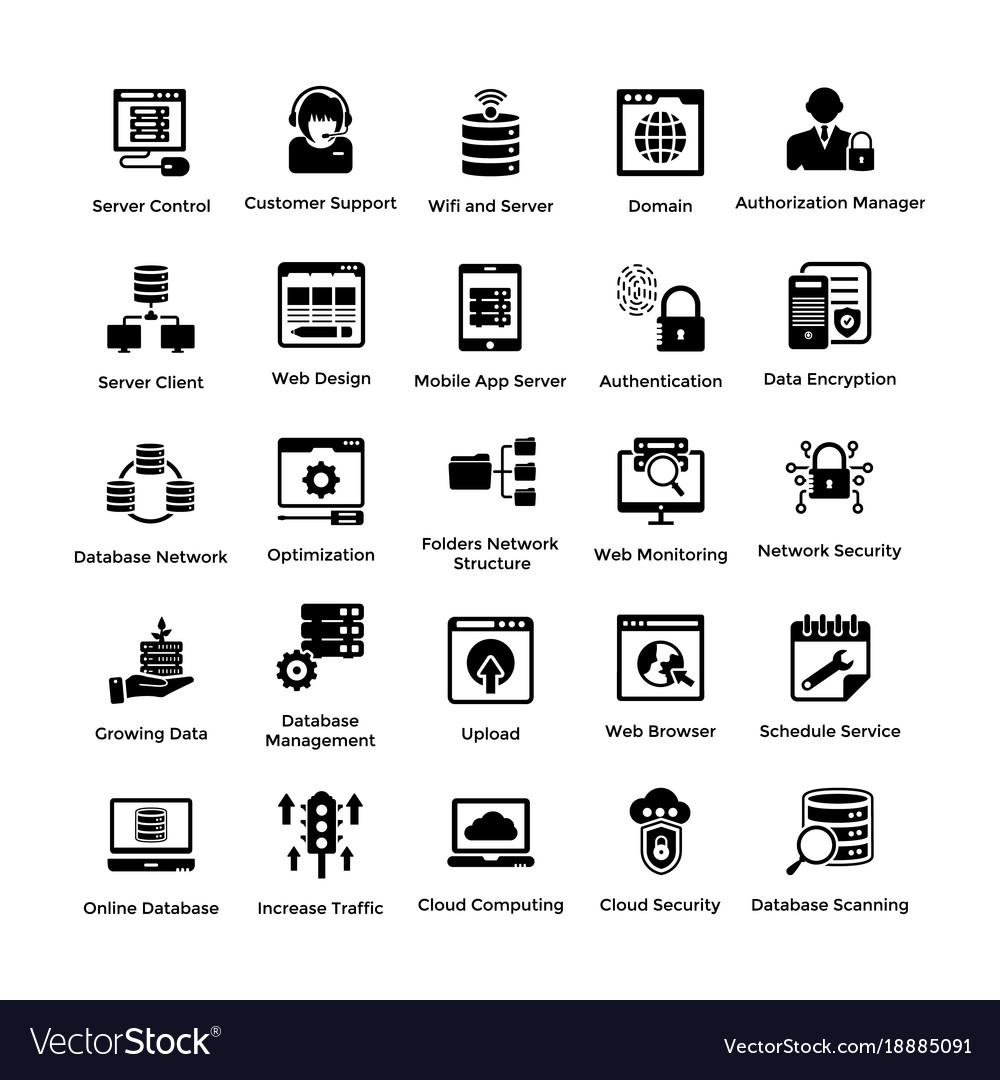 Web hosting glyph icon designs 1