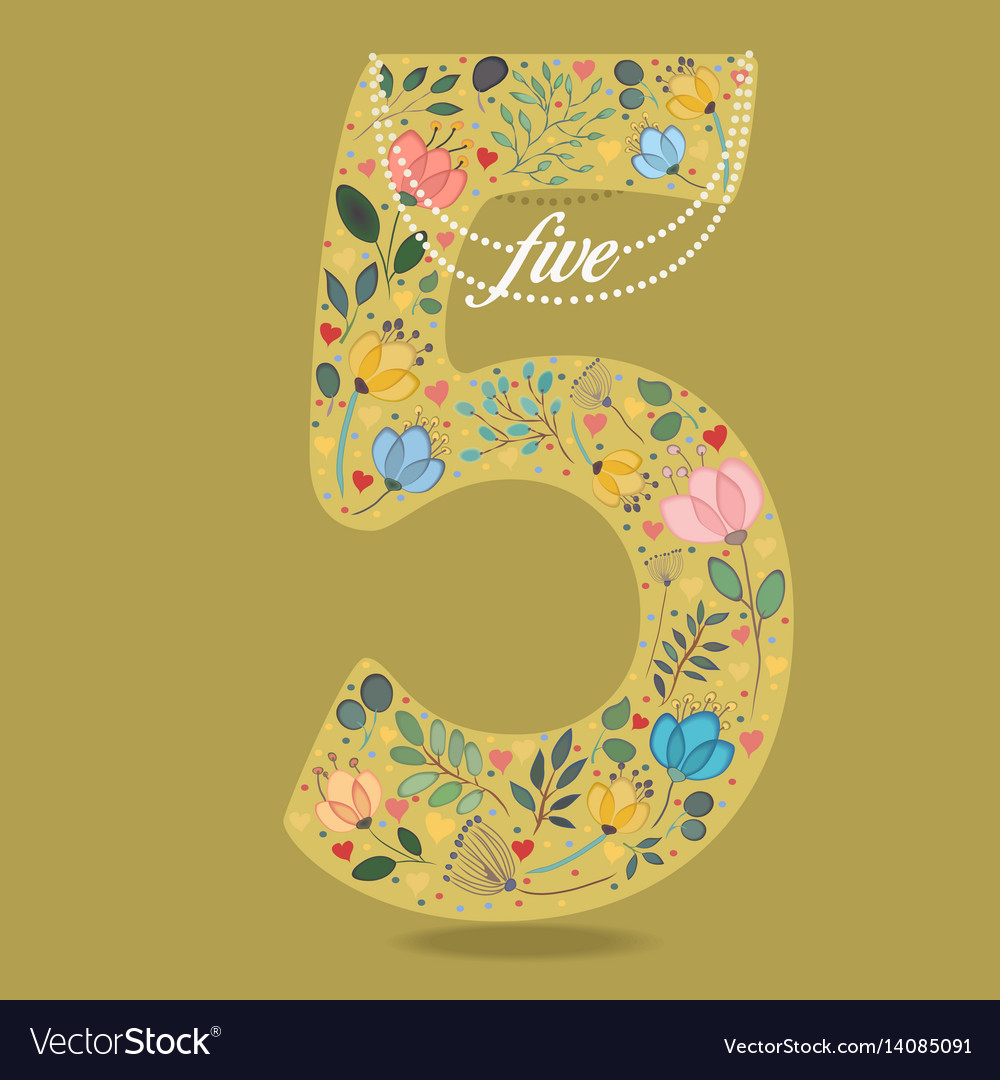 Yellow number five with floral decor and necklace