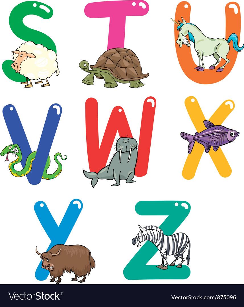 Cartoon Colorful Alphabet with Animals