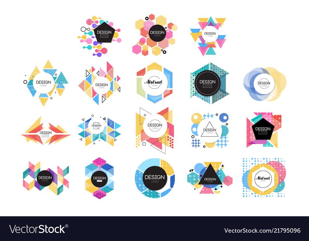Colorful abstract design logo set geometric shape