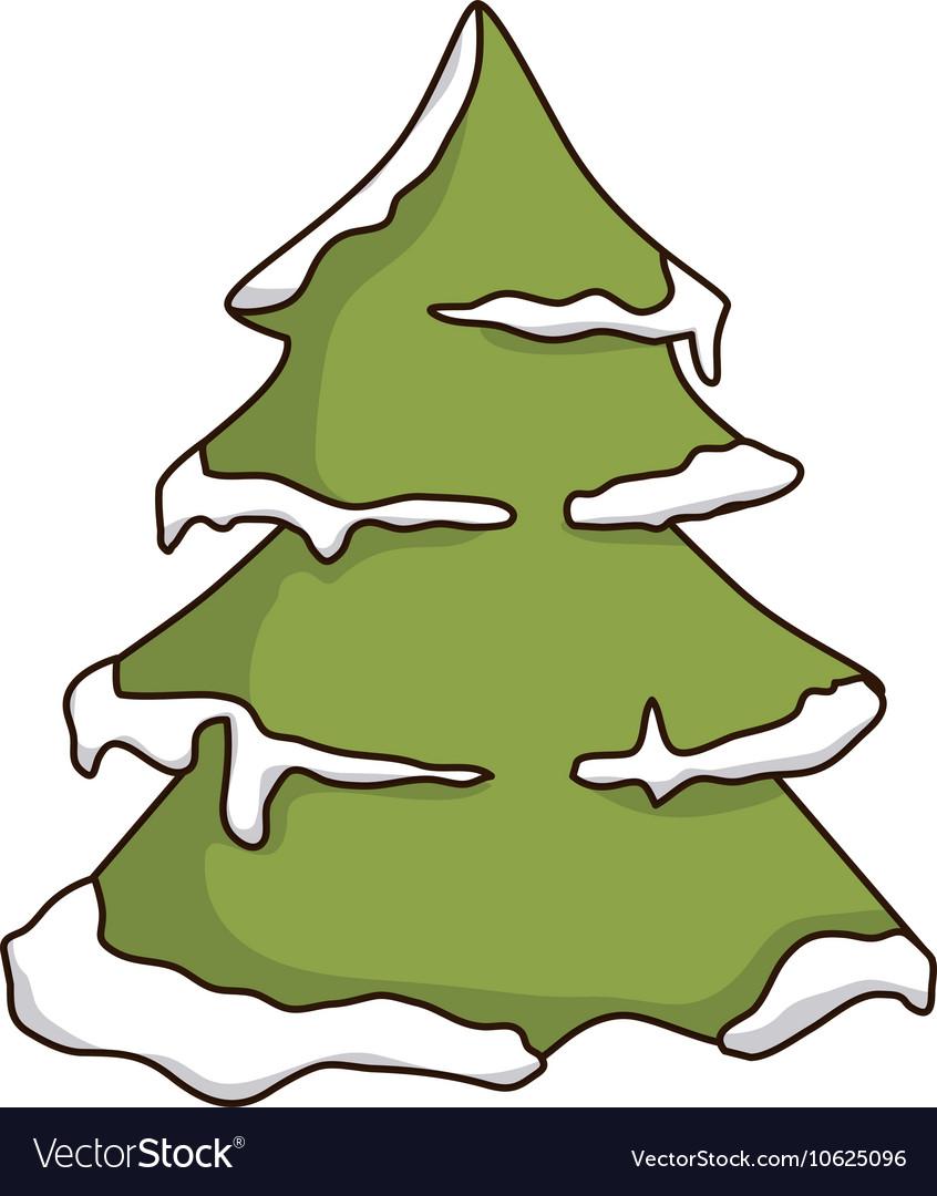Green pine tall tree vector image