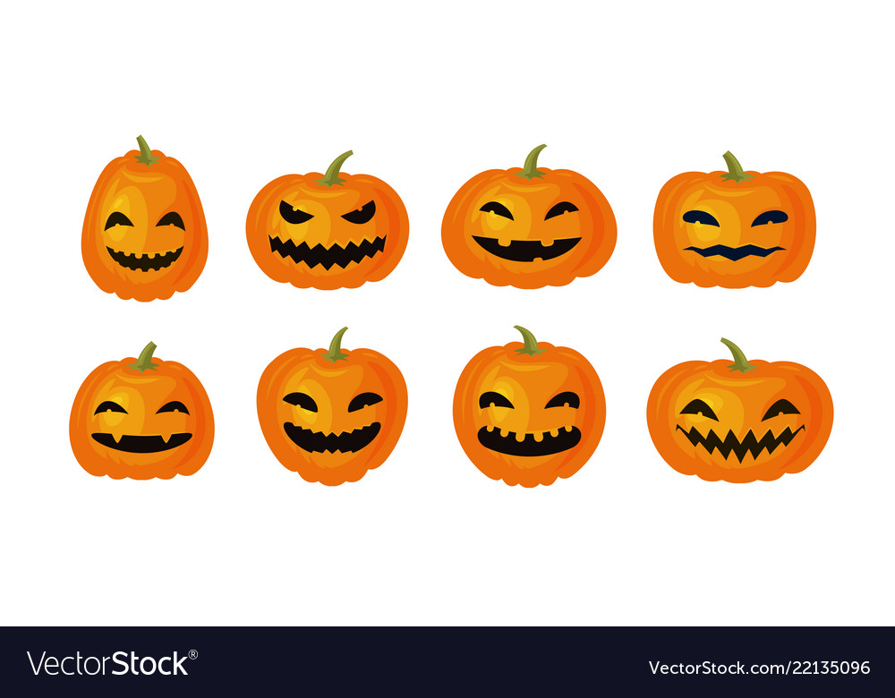 Halloween symbol set of funny pumpkins cartoon