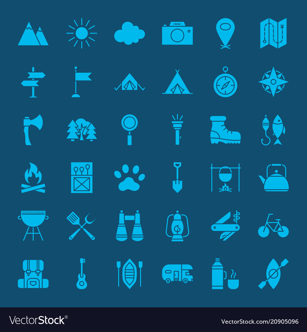 Hiking outdoor solid web icons