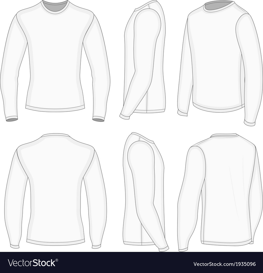 Mens White Long Sleeve T Shirt Royalty Free Vector Image
