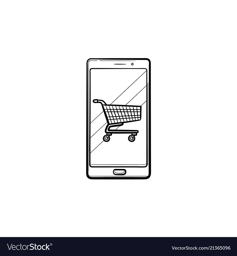 Mobile shopping hand drawn outline doodle icon